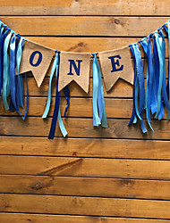 cheap -Ribbon One First Birthday Flag Baby Girl Boy Bunting Baby Shower Party Decorate Nursery Garland