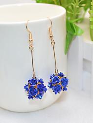 cheap -Women's Drop Earrings Long Flower Sweet Cute Earrings Jewelry Red / Blue / Rainbow For Party Daily 1 Pair