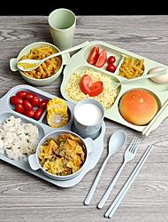 Недорогие -6 шт. Набор соломы пшеницы детская тарелка детский сад студентов завтрак обед тарелка с чашкой воды экологически чистые посуда