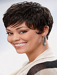 cheap -Human Hair Wig Short Natural Wave Natural Straight Pixie Cut With Bangs Simple Sexy Lady Hot Sale Capless Women's All Black#1B Chestnut Brown / African American Wig / For Black Women
