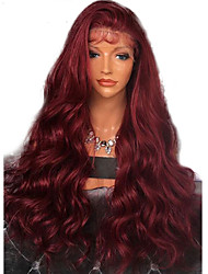 cheap -Synthetic Lace Front Wig Wavy Side Part with Baby Hair Lace Front Wig Long Dark Wine Synthetic Hair 20-26 inch Women's Adjustable Heat Resistant Party Burgundy