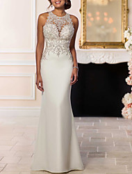 cheap -Mermaid / Trumpet Wedding Dresses Halter Neck Sweep / Brush Train Lace Satin Strapless Glamorous Sexy Backless with Beading 2021