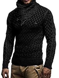 cheap -Men's Solid Colored Long Sleeve EU / US Size Pullover Sweater Jumper, Turtleneck Winter Black / White / Dark Gray US32 / UK32 / EU40 / US34 / UK34 / EU42 / US36 / UK36 / EU44