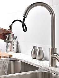 cheap -Kitchen faucet - Single Handle Two Holes Brushed Steel Tall / ­High Arc Vessel Contemporary Kitchen Taps / Stainless Steel