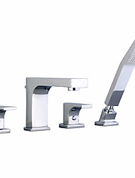 cheap -Shower Faucet / Bathtub Faucet - Contemporary Chrome Widespread Brass Valve Bath Shower Mixer Taps
