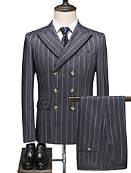 cheap -Gray Striped Standard Fit Polyester Suit - Peak Double Breasted Six-buttons