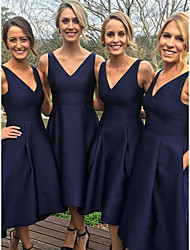 cheap -A-Line V Neck Tea Length Satin Bridesmaid Dress with