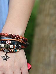 cheap -3pcs Men's Women's Bead Bracelet Wrap Bracelet Earrings / Bracelet Layered Butterfly Weave Classic Vintage Ethnic Fashion Boho Wooden Bracelet Jewelry Brown For Daily School Street Holiday Festival
