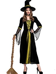 cheap -Witch Costume Women's Fairytale Theme Halloween Performance Theme Party Costumes Women's Dance Costumes Polyester Split Joint