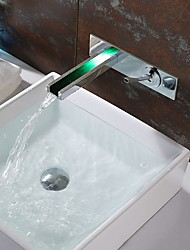 cheap -Bathroom Sink Faucet - Waterfall / LED Chrome Wall Mounted Single Handle Two HolesBath Taps