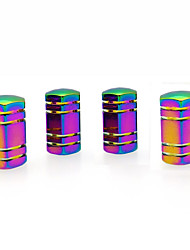cheap -4 Pcs Colorful Hexagonal Car Tire Valve Stem Cap Cover Auto Accessories