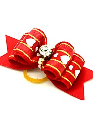 cheap -Dogs Ornaments Hair Accessories For Dog / Cat Bowknot Decoration Stripes Love Metalic Polyester Rubber White Red