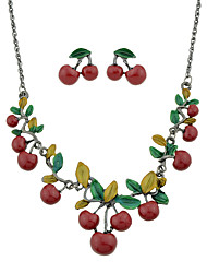 cheap -Women's Necklace Earrings Fancy Cherry Holiday Ethnic Boho Earrings Jewelry Red For Gift Daily Holiday Festival 1 set