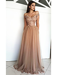 cheap -A-Line Off Shoulder Sweep / Brush Train Chiffon Elegant Formal Evening Dress with Beading / Sequin / Appliques 2020