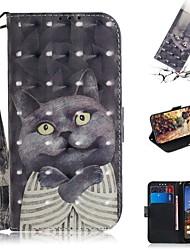 Недорогие -чехол для google pixel 3a xl / google pixel 3a кошелек / держатель для карт / противоударный чехлы для всего тела кошка искусственная кожа