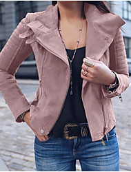 cheap -Women's Daily Street chic Spring &  Fall Regular Jacket, Solid Colored Turndown Long Sleeve Polyester Patchwork Blushing Pink / Blue / Brown