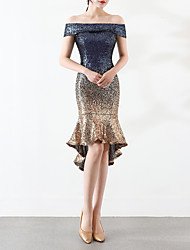 cheap -Mermaid / Trumpet Off Shoulder Asymmetrical Sequined Sexy / Sparkle & Shine Cocktail Party / Holiday Dress 2020 with Sequin