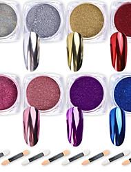 cheap -Nail Powder WENIDA 8 Colors 1g/Jar Premium Mirror Laser Synthetic Resin Powder Manicure Art Decoration With 8pcs Eyeshadow Sticks