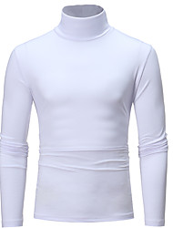 cheap -Men's T shirt non-printing Solid Colored Long Sleeve Daily Tops Basic White Black Light gray