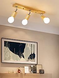 cheap -3-Light Ceiling Light 3 Lights Simple Chandeliers Wooden Pendant Lighting Fixtures Flush Mount Hallway Corridor Bedroom Ceiling Lamps
