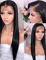 cheap -Human Hair Wig Medium Length Straight Middle Part Side Part Party Women Best Quality 4x4 Closure Full Lace Brazilian Hair Women's Black#1B 8 inch 10 inch 12 inch
