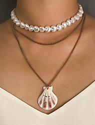 cheap -Women's Pendant Necklace Necklace Layered Necklace Trendy Fashion Shell Gold 30 cm Necklace Jewelry 1pc For Gift Daily Carnival Holiday Festival