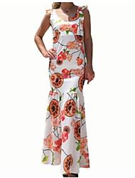 cheap -Maxi Dress Floral Print Women's Daily Maxi Slim Bodycon Dress High Waist V Neck Cotton Rainbow L XL XXL
