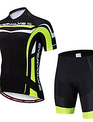 cheap -EVERVOLVE Men's Short Sleeve Cycling Jersey with Shorts Black Bike Clothing Suit Breathable Moisture Wicking Quick Dry Anatomic Design Sports Lycra Geometry Mountain Bike MTB Road Bike Cycling