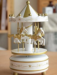 cheap -Wooden Rotation Carousel Wooden Carousel With LED Lamp Lighted Carousel Musical Box Birthday/Festival Gift 1