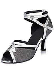 cheap -Women's Dance Shoes Satin Latin Shoes Sequin / Buckle / Glitter Heel Flared Heel Customizable Black / Almond / Gold
