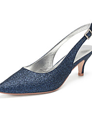 cheap -Women's Wedding Shoes Sequins Kitten Heel Pointed Toe Rhinestone / Sequin Synthetics Vintage / British Spring & Summer Dark Blue / Champagne / Ivory / Party & Evening