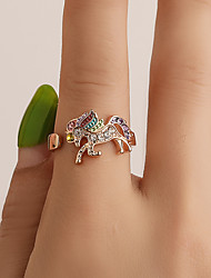cheap -Women's Ring Open Ring 1pc Gold Silver Rhinestone Alloy Simple Fashion Cute Party Daily Jewelry Classic Horse Heart Cool