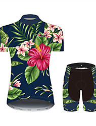 cheap -21Grams Floral Botanical Hawaii Women's Short Sleeve Cycling Jersey with Shorts - Black / Green Bike Clothing Suit Breathable Quick Dry Moisture Wicking Sports 100% Polyester Mountain Bike MTB