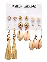 cheap -Women's Stud Earrings Drop Earrings Hoop Earrings Tassel Heart Flower Ball Bohemian Natural Boho Gold Plated Shell Earrings Jewelry Gold For Party Gift Carnival Holiday Club 6 Pairs