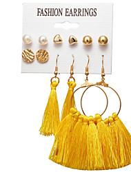 cheap -Women's Stud Earrings Drop Earrings Earrings Tassel Sweet Heart Heart Ball Bohemian Trendy Boho Gold Plated Earrings Jewelry Gold For Party Gift Carnival Holiday Club 6 Pairs