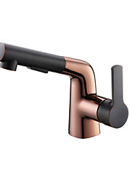 cheap -Pull-Out Rose Gold Plating Copper Coating Basin Faucet Mixer Tap T28