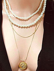 cheap -Women's Necklace Layered Necklace Aluminum Imitation Pearl Gold 60 cm Necklace Jewelry 1pc For Daily School Street Holiday Festival