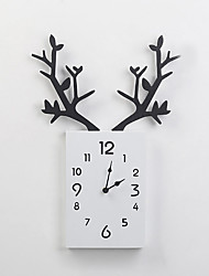 cheap -Clock Wooden Square Digital Antler Wall Clock Hanging Wall Display For Study Office Bedroom Decoration Watch
