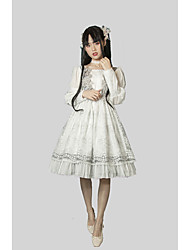 cheap -Artistic / Retro Classic Lolita Elegant Dress Party Costume Masquerade Party Dress Female Japanese Cosplay Costumes White Solid Colored Lace Embroidered Juliet Sleeve Long Sleeve Midi Knee Length