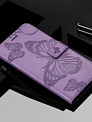 cheap -Case For Motorola MOTOOnePower / MOTO P40 / MOTO G6 Wallet / Card Holder / with Stand Full Body Cases Butterfly Hard PU Leather