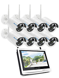cheap -Techage Wireless 3CH CCTV System 1080P Home Security Camera System With 12 Inches Video Recorder 8x Playback, Mobile&PC Remote Night Vision Survilliance