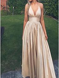 cheap -A-Line Halter Neck Floor Length Satin Elegant Formal Evening Dress 2020 with Draping