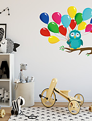 cheap -Cartoon Owl Branch Color Balloons Wall Stickers - Words &ampampamp Quotes Wall Stickers Characters Study Room / Office / Dining Room / Kitchen