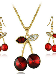 cheap -Women's Crystal Bridal Jewelry Sets Geometrical Cherry Stylish Gold Plated Earrings Jewelry Red For Party Daily 1 set