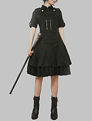 cheap -Gothic Style Gothic Lolita Gothic Dress Party Costume Cocktail Dress Party Dress Female Japanese Cosplay Costumes Black Solid Colored Fashion Puff / Balloon Sleeve Short Sleeve Midi