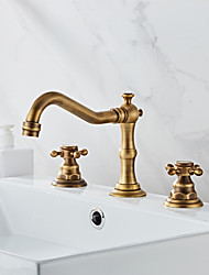 cheap -Bathtub Faucet - Antique Antique Brass Roman Tub Ceramic Valve Bath Shower Mixer Taps / Two Handles Three Holes