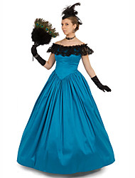 cheap -Duchess Victorian Ball Gown 1910s Edwardian Dress Party Costume Women's Cotton Costume Blue Vintage Cosplay Masquerade Floor Length Long Length Ball Gown Plus Size