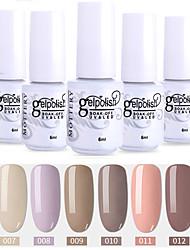 cheap -6 Pcs color 7-12 XYP Soak-Off UV/LED Gel Nail Polish Solid Color Nail Lacquer Sets