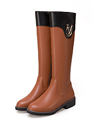 cheap -Women's Boots Knee High Boots Chunky Heel Round Toe PU Knee High Boots Casual / British Fall & Winter Black / Brown / White / Party & Evening