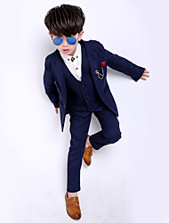 cheap -Kids Boys' Basic Solid Colored Long Sleeve Cotton Suit & Blazer Blue